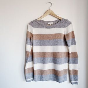 Madewell Cozy Striped Cream/Grey/Ivory Sweater XS